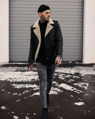 Beanie Outfits For Men: This modern casual combo of a black leather biker jacket and a beanie is very easy to put together in no time flat, helping you look amazing and ready for anything without spending too much time combing through your closet. Add a pair of black leather chelsea boots to the mix for an instant dressy look.