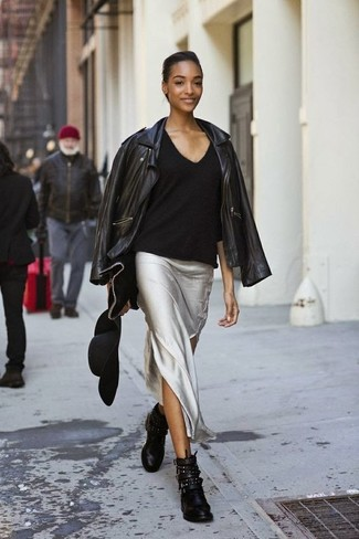 How to wear: black leather biker jacket, black v-neck sweater, silver maxi skirt, black studded leather ankle boots