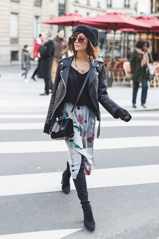 If you feel more confident wearing something comfortable, you'll fall in love with this stylish combination of a black leather biker jacket and a grey floral midi skirt. For shoes, go down the classic route with black suede over the knee boots. Loving this one, especially for springtime.