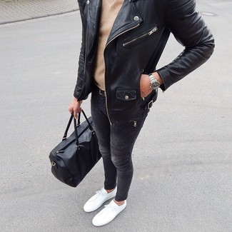 How to wear: black leather biker jacket, tan v-neck sweater, charcoal skinny jeans, white low top sneakers