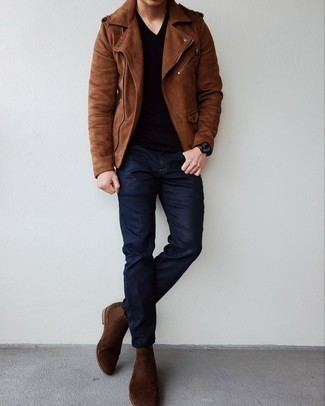 Brown Suede Biker Jacket Outfits For Men: This off-duty combo of a brown suede biker jacket and navy jeans couldn't possibly come across as anything other than outrageously dapper. Add a pair of dark brown suede chelsea boots to the equation to avoid looking too casual.
