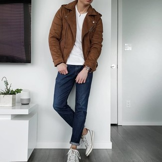 Brown Suede Biker Jacket Outfits For Men: This combo of a brown suede biker jacket and navy jeans is on the off-duty side but is also sharp and really dapper. A pair of white leather low top sneakers is a smart choice to complete your ensemble.