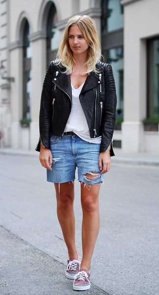 How to wear: black leather biker jacket, white v-neck t-shirt, blue ripped denim shorts, multi colored plimsolls