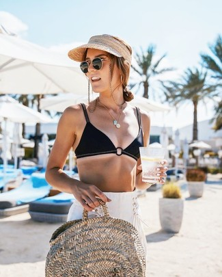 How to wear: black bikini top, white linen wide leg pants, beige straw tote bag, beige straw cap