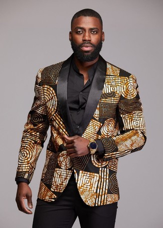 How to Wear a Gold Watch For Men: A black and gold print blazer and a gold watch are awesome menswear staples to have in your off-duty rotation.