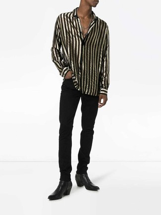 How to wear: black and gold vertical striped long sleeve shirt, black jeans, black leather chelsea boots