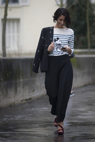 How to wear: black and white print blazer, white and blue horizontal striped long sleeve t-shirt, black tapered pants, burgundy suede heeled sandals