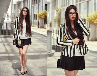 Women's Black and White Vertical Striped Blazer, White Tank, Black Shorts, Black Quilted Leather Crossbody Bag