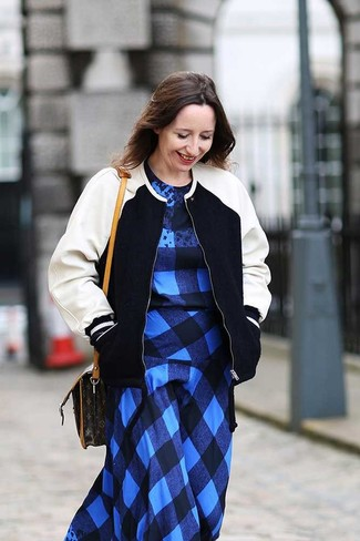 How to Wear a Black and White Bomber Jacket For Women: A black and white bomber jacket and a blue plaid casual dress are a nice look to add to your day-to-day casual arsenal.