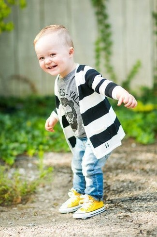 Boys' Black and White Horizontal Striped Cardigan, Grey Print T-shirt, Light Blue Jeans, Yellow Sneakers