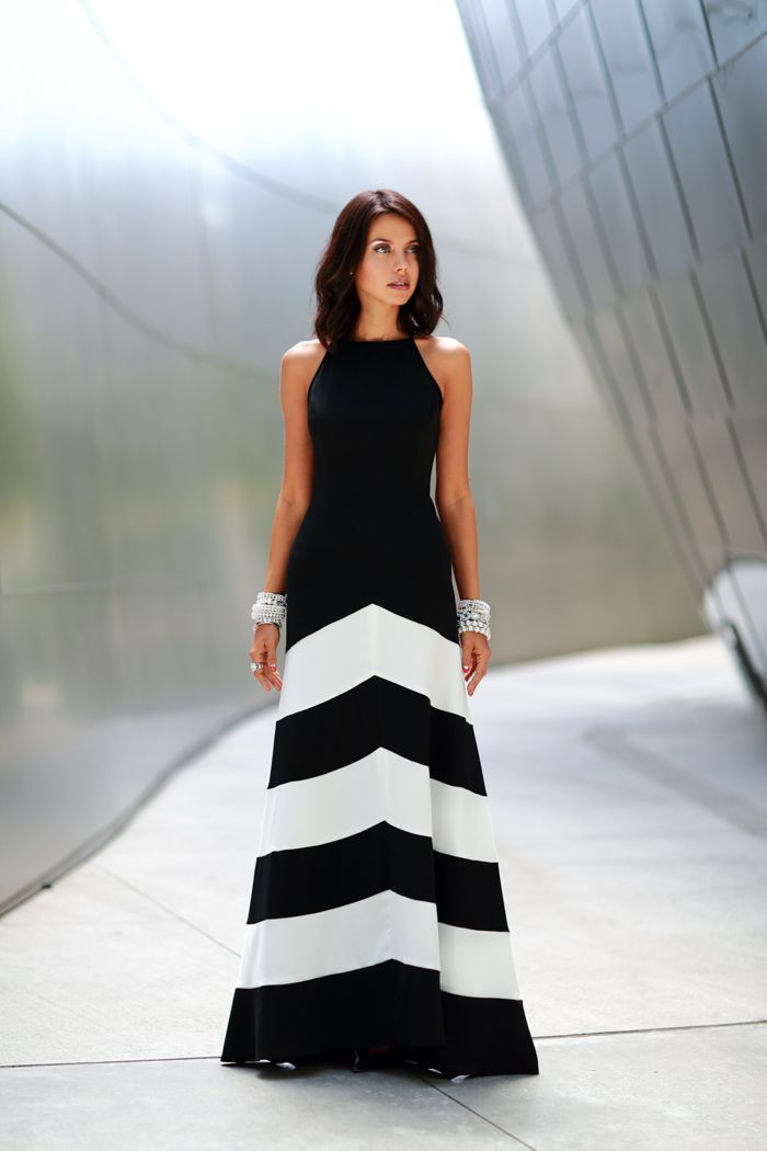 women's black and white chevron evening dress silver