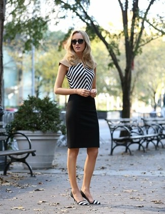 Women's Black and White Chevron Sleeveless Top, Black Pencil Skirt, Black and White Horizontal Striped Leather Pumps