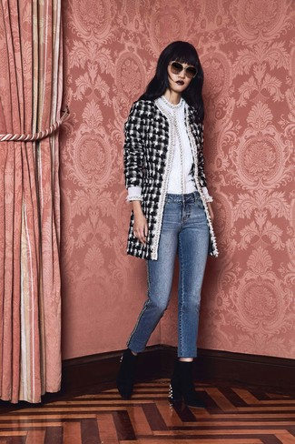 How to wear: black and white check tweed coat, white crew-neck sweater, blue jeans, black embellished velvet ankle boots