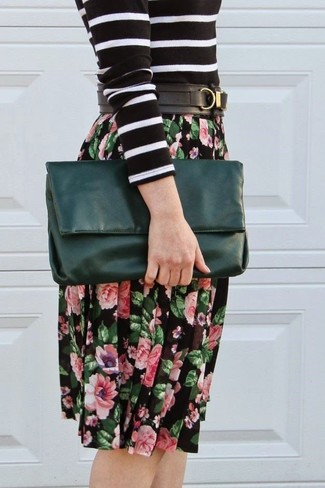 How to wear: black and white horizontal striped crew-neck sweater, black floral midi skirt, dark green leather clutch, black leather belt