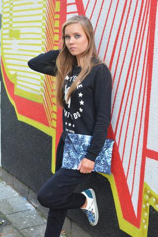 Women's Black and White Print Crew-neck Sweater, Black Sweatpants, Blue Print Slip-on Sneakers, Blue Print Leather Clutch