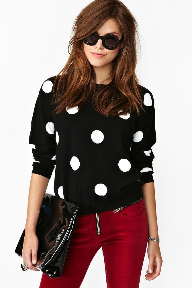 Women's Black and White Polka Dot Crew-neck Sweater, Burgundy ...