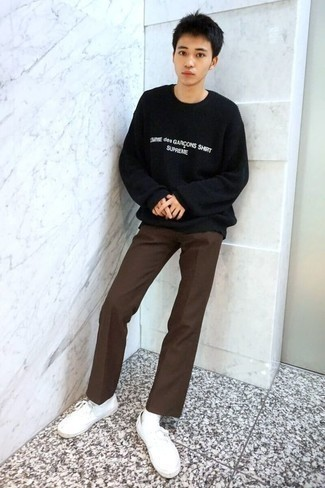 Teen Boy Fashion: What To Wear: For a look that's very straightforward but can be flaunted in plenty of different ways, opt for a black and white print crew-neck sweater and dark brown chinos. On the footwear front, this outfit is complemented really well with white canvas low top sneakers.