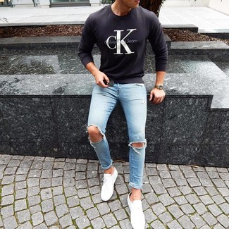 How to Wear Light Blue Print Jeans For Men: Why not marry a black and white print crew-neck sweater with light blue print jeans? Both of these items are totally practical and will look amazing worn together. Introduce white low top sneakers to the equation and the whole outfit will come together perfectly.