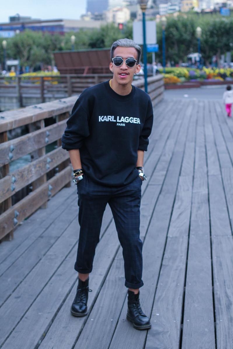 Black t shirt navy pants - Men S Black And White Print Crew Neck Sweater Navy Plaid Dress Pants Black Leather Boots Black Sunglasses Men S Fashion
