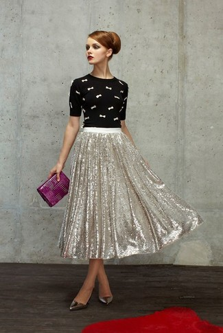 How to wear: black and white embroidered crew-neck sweater, silver pleated sequin midi skirt, silver leather pumps, purple leather clutch