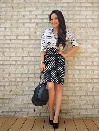 Women's Black and White Print Dress Shirt, Black and White Polka Dot Pencil Skirt, Black Leather Pumps, Black Leather Tote Bag