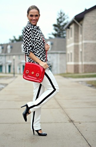 How to wear: black and white chevron dress shirt, white and black vertical striped tapered pants, black leather pumps, red leather crossbody bag