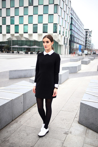 Womens Black And White Dress White Leather Brogues Black Tights