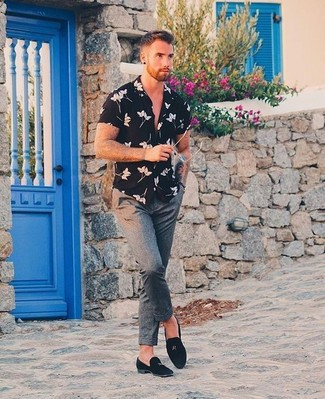 How to wear: black and white floral short sleeve shirt, grey dress pants, black suede tassel loafers