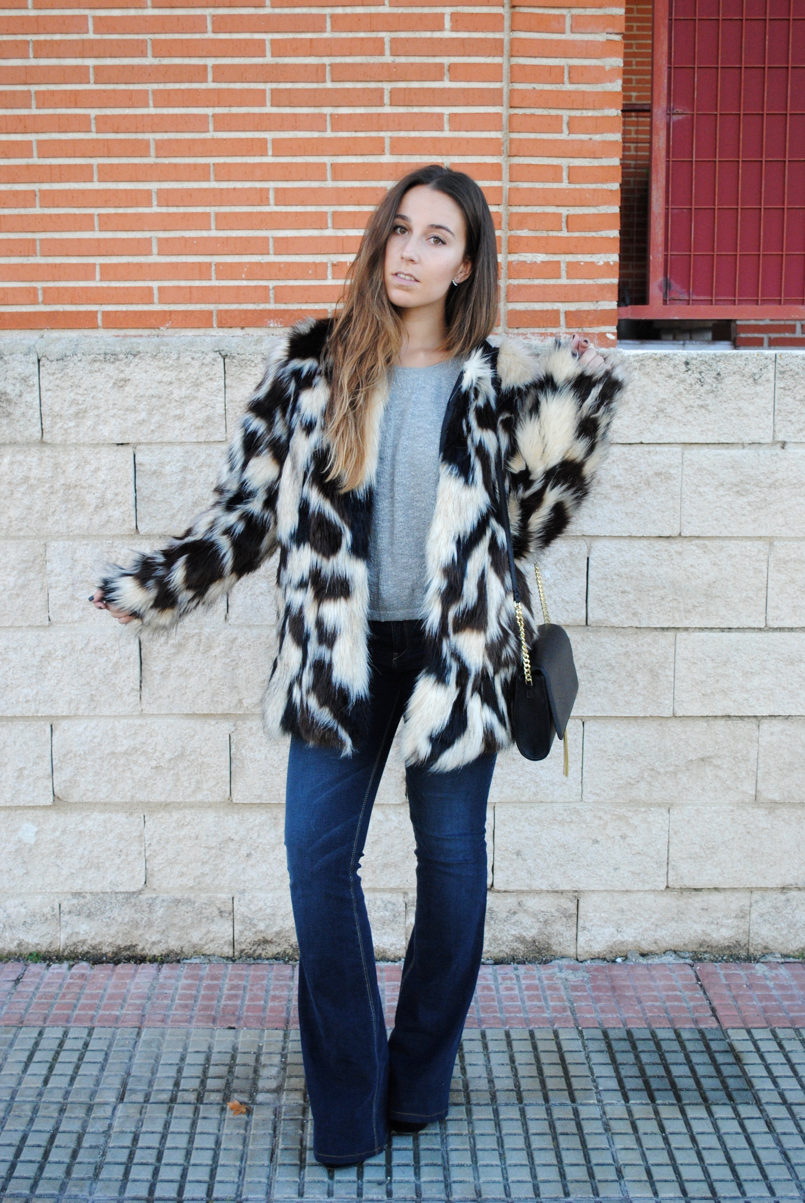 Women's Black and White Print Fur Coat, Grey Cropped Sweater, Navy ...
