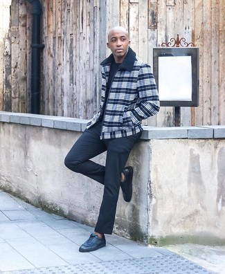 Charcoal Chinos Outfits: A black and white check harrington jacket and charcoal chinos are the kind of off-duty essentials that you can wear for years to come. Let your styling expertise really shine by rounding off your getup with a pair of charcoal leather low top sneakers.