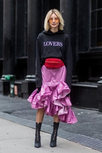 How to Wear Black Suede Lace-up Ankle Boots: Breathe a relaxed touch into your day-to-day fashion mix with a black and white print hoodie and a pink ruffle midi skirt. For something more on the classier end to finish your look, complement this look with black suede lace-up ankle boots.