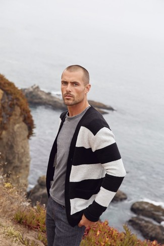 How to Wear Charcoal Jeans For Men: Consider teaming a black and white horizontal striped cardigan with charcoal jeans if you want to look casually stylish without much work.