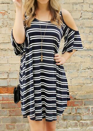Women's Black and White Horizontal Striped Off Shoulder Dress, Black Leather Crossbody Bag, Gold Pendant