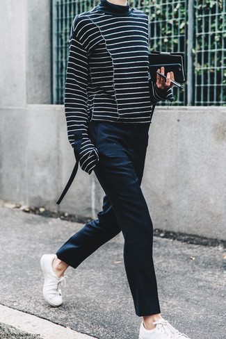 How to wear: black and white horizontal striped turtleneck, black dress pants, white leather low top sneakers