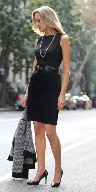 Women's Black and White Chevron Jacket, Black Sheath Dress, Black Leather Pumps, Black Leather Waist Belt