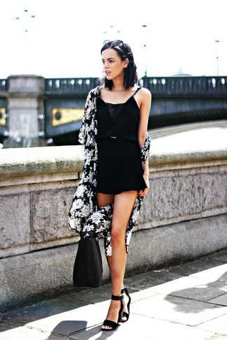 How to wear: black and white floral kimono, black playsuit, black suede heeled sandals, black leather tote bag