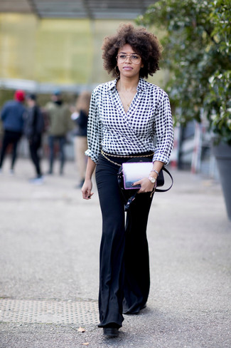 How to wear: black and white gingham long sleeve blouse, black flare pants, black leather crossbody bag, gold belt