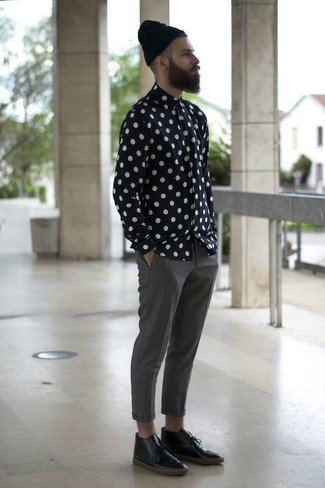 How to wear: black and white polka dot long sleeve shirt, grey chinos, black leather desert boots, black beanie