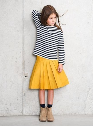 How to wear: black and white horizontal striped long sleeve t-shirt, yellow skirt, beige suede boots, black socks