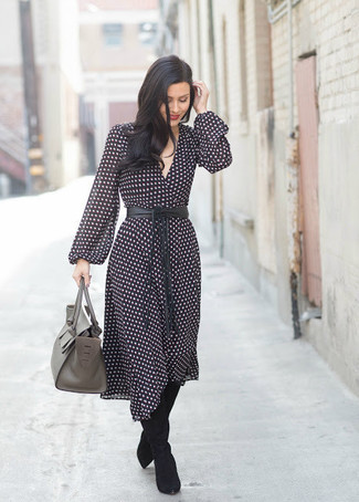 How to wear: black and white polka dot midi dress, black suede over the knee boots, grey leather satchel bag, black leather waist belt
