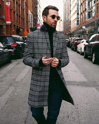 How to wear: black and white plaid overcoat, black turtleneck, navy jeans