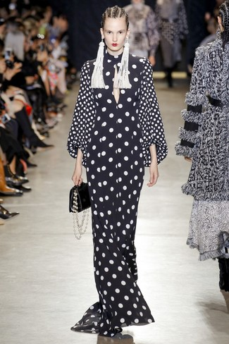 How to wear: black and white polka dot evening dress, black leather handbag, white beaded earrings