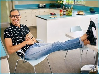 f565a3d4a0 ... Jeff Goldblum wearing Black and White Print Polo