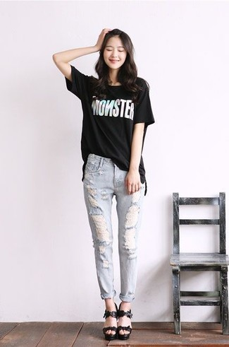406eab5d9b6 Women s Black and White Print Crew-neck T-shirt