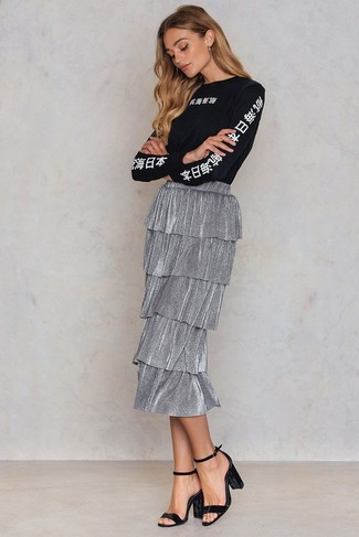 How to wear: black and white print long sleeve t-shirt, silver pleated midi skirt, black velvet heeled sandals