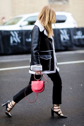 How to wear: black and white shearling coat, black jeans, black cutout leather pumps, red leather crossbody bag