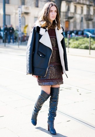 If you feel more confident in comfy clothes, you'll fall in love with this totally chic pairing of a black and white shearling jacket and a burgundy shift dress. Louise et Cie Andora Over The Knee Boot are a great choice to complement the look. It's is a nice idea if you're putting together a well-coordinated getup for awkward transition weather.
