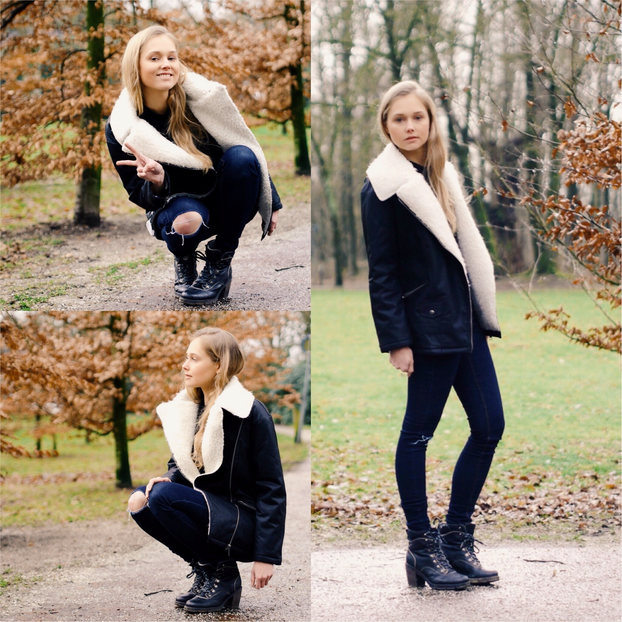 White skinny jeans black boots