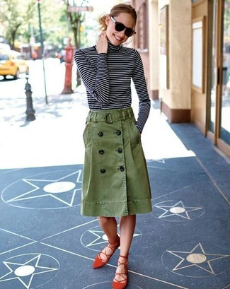 How to wear: black and white horizontal striped turtleneck, olive button skirt, red suede gladiator sandals, black sunglasses