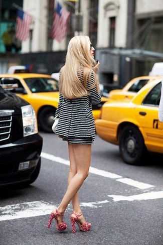 Pairing a black and white striped tweed jacket with black and white striped tweed shorts is a comfortable option for running errands in the city. Dress up your ensemble with red and white polka dot canvas heeled sandals. So if you're on a mission for an insta-worthy outfit on a hot weather day, look no further.